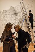 WENDY GOLDSMITH; LULU; MORGAN LONG, ARTIST BEHIND ON STEPLADDER, Kohei Nawa: Force - private view, PACE GALLERY, Burlington House, London. 8 September 2015.