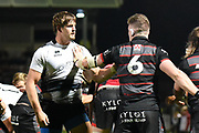 Johan Meyer and Magnus Bradbury face off during the Guinness Pro 14 2017_18 match between Edinburgh Rugby and Zebre at Myreside Stadium, Edinburgh, Scotland on 6 October 2017. Photo by Kevin Murray.