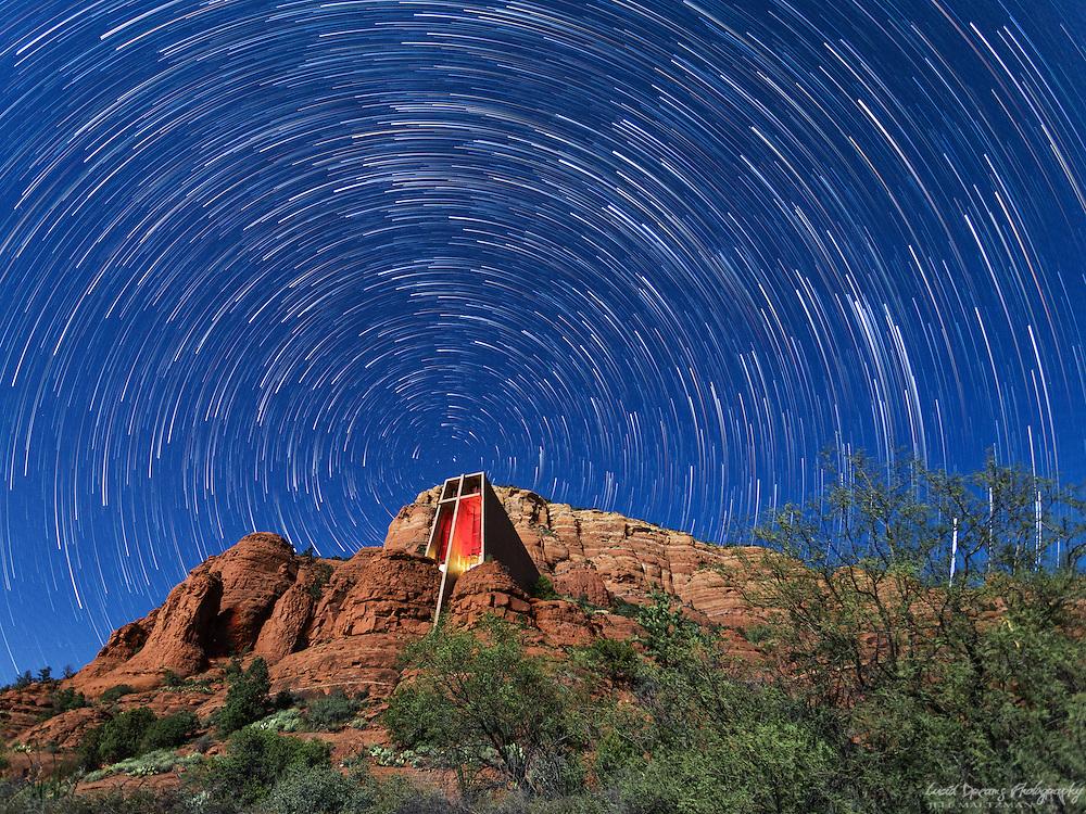 Star trails over the Chapel of the Holy Cross, Sedona, Arizona.