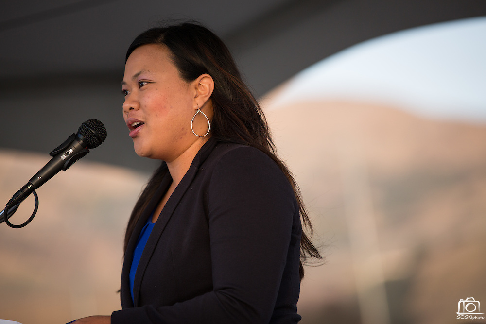 SJECCD Board of Trustees President Wendy Ho welcomes guests during the Milpitas Unified School District and San Jose Evergreen Community College District Community College Extension Ground Breaking Ceremony near Russell Middle School in Milpitas, California, on November 17, 2015. (Stan Olszewski/SOSKIphoto)