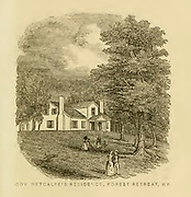 Governor Metcalfe's Residence, Forest Retreat, KY from the book ' Historical Sketches Of Kentucky (1847) ' ITS HISTORY, ANTIQUITIES, AND NATURAL CURIOSITIES, GEOGRAPHICAL, STATISTICAL, AND GEOLOGICAL DESCRIPTIONS. WITH ANECDOTES OF PIONEER LIFE By Lewis Collins. Published by Lewis Collins, Maysville, KY. and J. A. & U. P. James Cincinnati. in 1847
