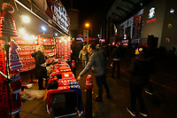 Football - 2019 / 2020 Premier League - Liverpool vs. Everton<br /> <br /> Merchandise on sale outside the ground before tonight's Derby game, at Anfield.<br /> <br /> COLORSPORT/ALAN MARTIN