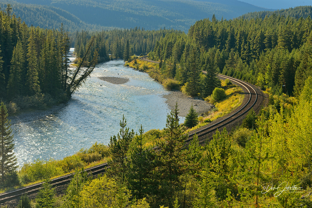 The Bow River and CNCP rail line at Morant's curve, Banff National Park, Alberta, Canada