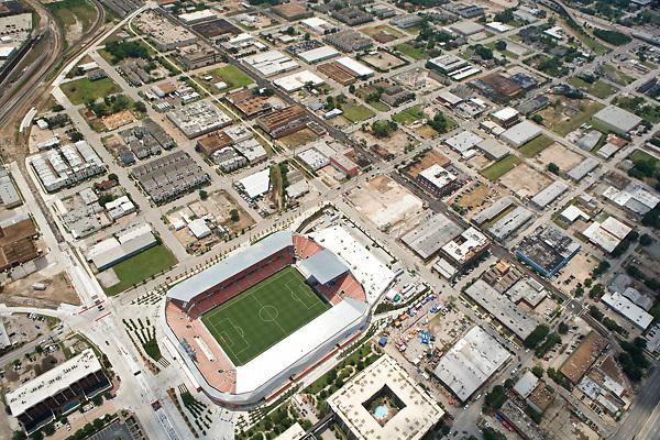 Aerial view of BBVA Compass Stadium in Houston, Texas where the Houston Dynamo soccer team plays.
