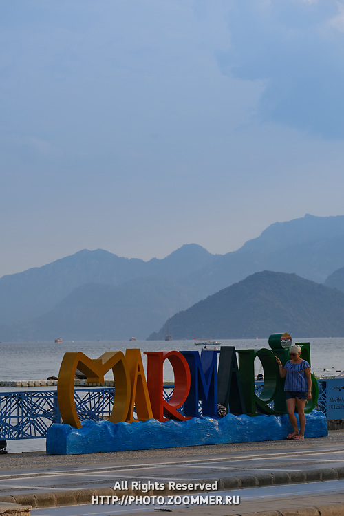 Marmaris sign with colored letters near promenade in Marmaris, Turkey