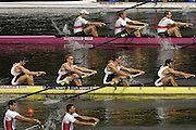 2006 FISA World Cup, Lucerne, SWITZERLAND, 08.07.2006.top to bottom GER M8+, GBR M8+ and EGY M8+,   Photo  Peter Spurrier/Intersport Images email images@intersport-images.com....[Mandatory Credit Peter Spurrier/Intersport Images... Rowing Course, Lake Rottsee, Lucerne, SWITZERLAND.