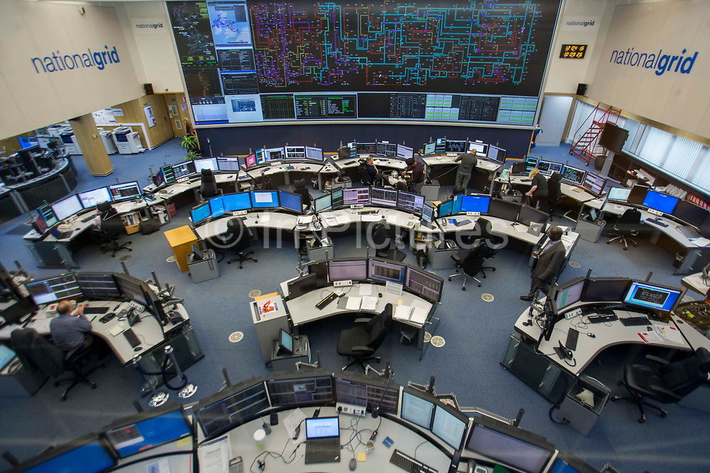 The National Grid electricity control room maps and monitors the flow of high voltage electric power around the entire UK network from their head quarters  Wokingham, United Kingdom.