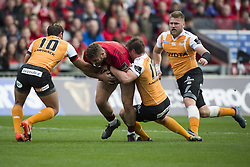 September 9, 2017 - Limerick, Ireland - Jaco Taute of Munster tackled by Robbie Petzer and William Small-Smith of Cheetahs during the Guinness PRO14 rugby match between Munster Rugby and Cheetahs Rugby at Thomond Park in Limerick, Ireland on September 9, 2017  (Credit Image: © Andrew Surma/NurPhoto via ZUMA Press)