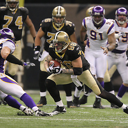 Jan 24, 2010; New Orleans, LA, USA; New Orleans Saints tight end Jeremy Shockey (88) runs after a catch during a 31-28 overtime victory by the New Orleans Saints over the Minnesota Vikings in the 2010 NFC Championship game at the Louisiana Superdome. Mandatory Credit: Derick E. Hingle-US PRESSWIRE