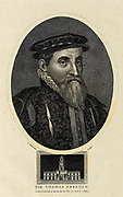 Sir Thomas Gresham the Elder (c. 1519 – 21 November 1579), was an English merchant and financier who acted on behalf of King Edward VI (1547–1553) and Edward's half-sisters, queens Mary I (1553–1558) and Elizabeth I (1558–1603). In 1565 Gresham founded the Royal Exchange in the City of London.  Copperplate engraving From the Encyclopaedia Londinensis or, Universal dictionary of arts, sciences, and literature; Volume IX;  Edited by Wilkes, John. Published in London in 1811