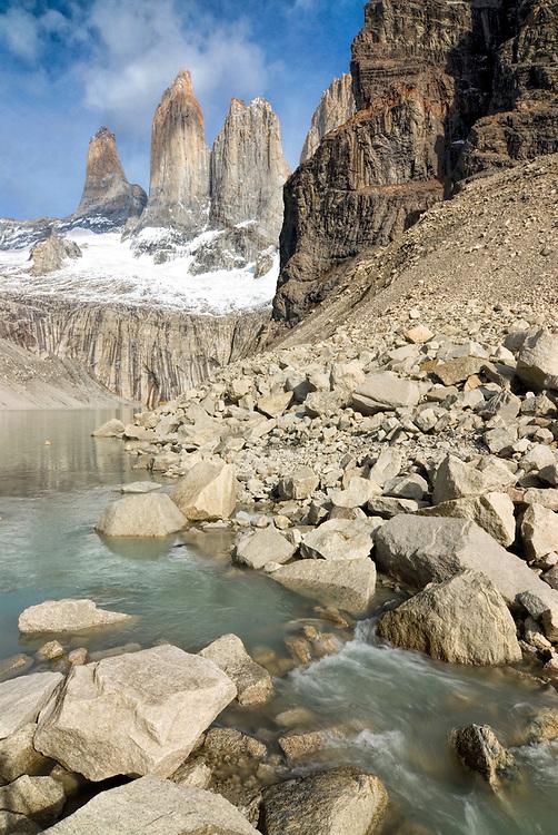Lake outlet, Torres Del Paine, Torres Del Paine National Park, Chile.