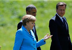 07.06.2015, Schloss Elmau, Krün, GER, G7 Gipfeltreffen auf Schloss Elmau, im Bild Barack Obama und Angela Merkel beim Spaziergang vor Schloss Elmau, rechts David Cameron // during the G7 summit at Schloss Elmau in Krün, Germany on 2015/06/07. EXPA Pictures © 2015, PhotoCredit: EXPA/ SM<br /> <br /> *****ATTENTION - OUT of GER*****