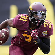 ORLANDO, FL - JANUARY 01: Eric Murray #31 of the Minnesota Golden Gophers runs with the football during the Buffalo Wild Wings Citrus Bowl against the Missouri Tigers at the Florida Citrus Bowl on January 1, 2015 in Orlando, Florida. (Photo by Alex Menendez/Getty Images) *** Local Caption *** Eric Murray