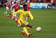 Devante Cole has a shot during the Sky Bet League 1 match between Walsall and Milton Keynes Dons at the Banks's Stadium, Walsall, England on 14 March 2015. Photo by Alan Franklin.