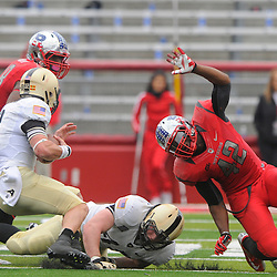 10 November 2012: Army Black Knights fullback Hayden Tippett (45) blocks Rutgers Scarlet Knights linebacker Steve Beauharnais (42) out of Army quarterback Trent Steelman's (8) rushing lane during NCAA college football action between the Rutgers Scarlet Knights and Army Black Knights at High Point Solutions Stadium in Piscataway, N.J..