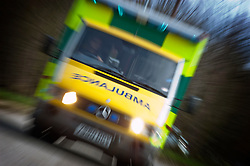 NHS emergency ambulance, Peterborough, Cambridgeshire, England, United Kingdom.