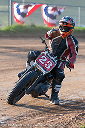 One-armed Hooligan flattracker (no. 23) Jason Griffin in the Spirit of Sturgis races at the fairgrounds during the Sturgis Black Hills Motorcycle Rally. Sturgis, SD, USA. Monday, August 5, 2019. Photography ©2019 Michael Lichter.