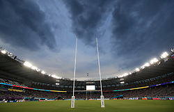 A general view of the pitch during the 2019 Rugby World Cup Pool A match at Tokyo Stadium.