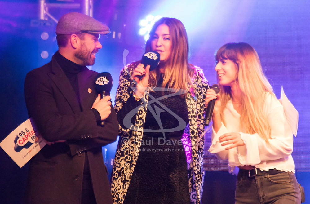 November 1st 2015, Oxford Street, London, UK. Thousands watch as Kylie Minogue gets the festive season underway in London as she switches on the Christmas lights on Oxford Street. With Capital FM DJ's Lisa Snowden and Dave Berry running the show, 2014 X-Factor winner Ben Haenow and runner-up Fleur East perform their new singles, along with performances by Gabrielle Aplin and the cast of Matilda The Musical. PICTURED: