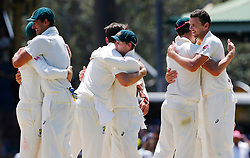 Australia's players celebrate winning the fourth test during day five of the Ashes Test match at Sydney Cricket Ground.