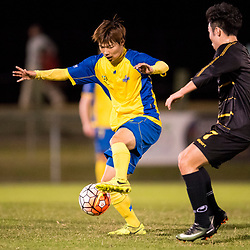 BRISBANE, AUSTRALIA - AUGUST 26: Hiroki Omori of the Strikers controls the ball during the NPL Queensland Senior Men's Semi Final match between Brisbane Strikers and Moreton Bay Jets at Perry Park on August 26, 2017 in Brisbane, Australia. (Photo by Patrick Kearney)