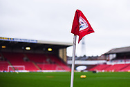 A view of one of the corner flags swaying in the cold wind before the EFL Sky Bet League 1 match between Barnsley and Bradford City at Oakwell, Barnsley, England on 12 January 2019.