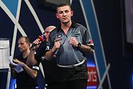 Nathan Aspinall wins the third set and celebrates during the World Darts Championships 2018 at Alexandra Palace, London, United Kingdom on 30 December 2018.