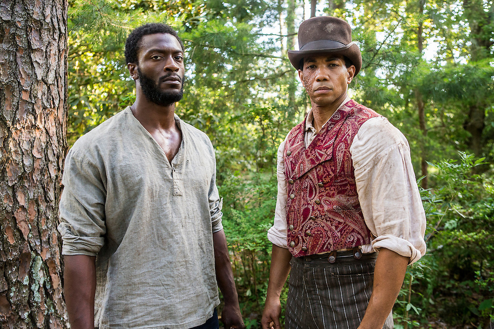 """Aldis Hodge as Noah and Alano Miller as Cato in WGN America's """"Underground."""""""