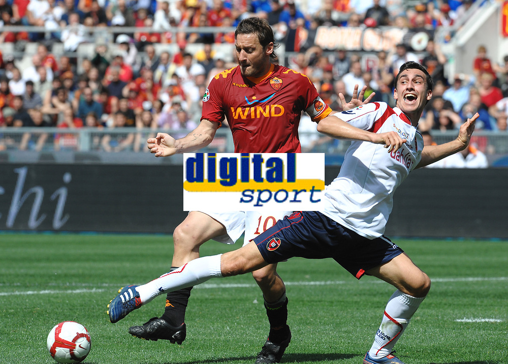 """Francesco TOTTI Roma, Davide ASTORI Cagliari<br /> Roma 9/5/2010 Stadio """"Olimpico""""<br /> Roma Cagliari<br /> Campionato Italiano Serie A 2009/2010 - Italy cup final<br /> Foto Andrea Staccioli Insidefoto<br /> Fiorentina captain Davide Astori dies suddenly aged 31 . <br /> Astori was staying a hotel with his team-mates ahead of their game on Sunday away at Udinese when he passed away. <br /> Foto Insidefoto"""