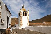 Historic church tower, Iglesia de Santa Maria, Betancuria, Fuerteventura, Canary Islands, Spain