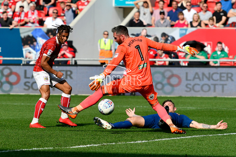Goal - Bobby Reid (14) of Bristol City scores a goal to make the score 4-2 during the EFL Sky Bet Championship match between Bristol City and Hull City at Ashton Gate, Bristol, England on 21 April 2018. Picture by Graham Hunt.