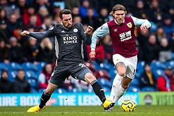 Christian Fuchs of Leicester City tackles Jeff Hendrick of Burnley - Mandatory by-line: Robbie Stephenson/JMP - 19/01/2020 - FOOTBALL - Turf Moor - Burnley, England - Burnley v Leicester City - Premier League