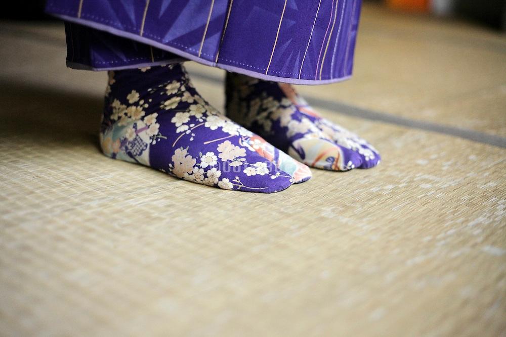 flower fabric tabi Japanse traditional style socks