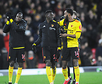 Football - 2019 / 2020 Premier League - Watford vs. Liverpool<br /> <br /> Happy Watford players, Nathaniel Chalobah and two goal hero, Ismaila Sarr after the match, at Vicarage Road.<br /> <br /> COLORSPORT/ANDREW COWIE
