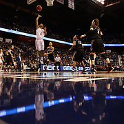 Moriah Jefferson, UConn, shoots two during the UConn Vs Cincinnati Quarterfinal Basketball game at the American Women's College Basketball Championships 2015 at Mohegan Sun Arena, Uncasville, Connecticut, USA. 7th March 2015. Photo Tim Clayton