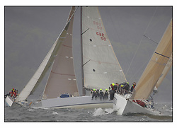 The second days racing at the Bell Lawrie Yachting Series in Tarbert Loch Fyne ...Strong winds, high seas and heavy rain dominated the day...Shirley Robertson, Alex Thompson and the Youth team on the Volvo RYA Keelboat programme Farr 45 John Merricks.( GBR 5955T ).