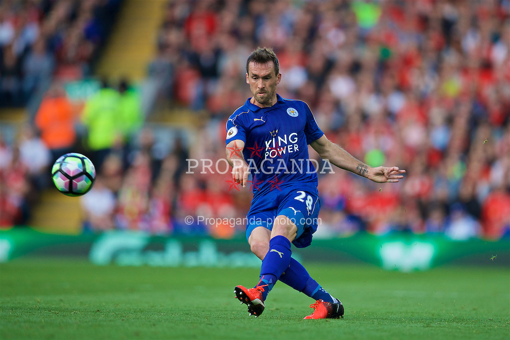 LIVERPOOL, ENGLAND - Saturday, September 10, 2016: Leicester City's Christian Fuchs in action against Liverpool during the FA Premier League match at Anfield. (Pic by David Rawcliffe/Propaganda)