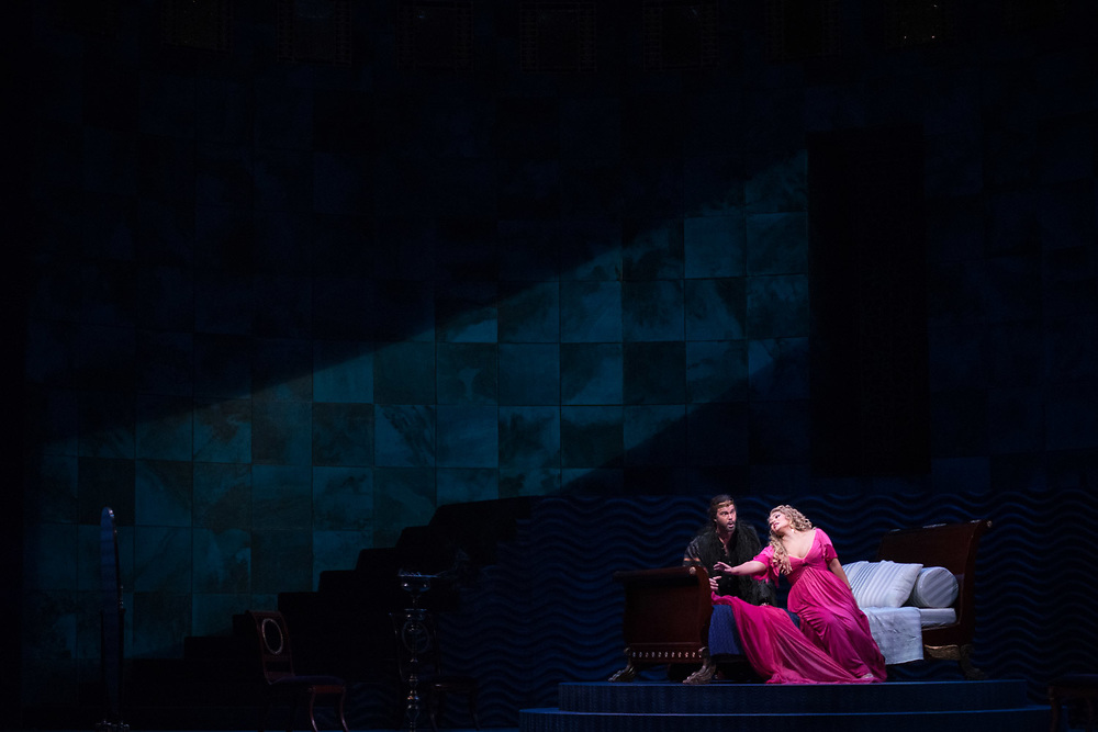 """NEW YORK, NY - NOVEMBER 8, 2017: Gerald Finley, left, and Ailyn Pérez during a performance of Jules Massenet's """"Thaïs"""" at the Metropolitan Opera in Manhattan. CREDIT: Emon Hassan for The New York Times"""