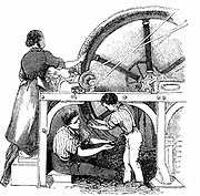 Man, woman & small boy working wheel for combing long staple wool into slivers for worsted manufacture. Substitution of wheel for hand combing meant more of fleece could be used. Cheaper and coarser form of worsted resulted. Wood engraving c1845.