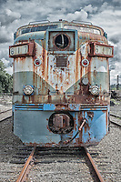 Old, rusted diesel locomotive