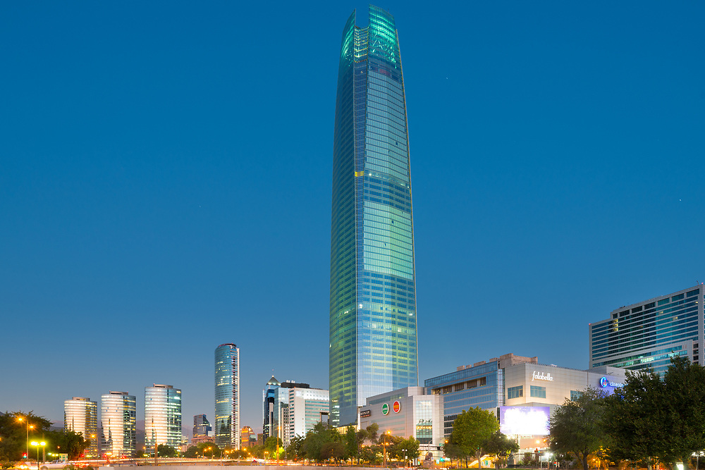 Santiago, Region Metropolitana, Chile -Skyline of financial district of Santiago with Costanera skyscraper and modern office buildings.