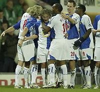 Photo: Aidan Ellis.<br /> Blackburn Rovers v Tottenham Hotspur. The Barclays Premiership. 19/11/2006.<br /> Blackburn's Tugay is mobbed after scoring the first goal