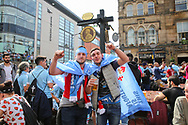 Celta Vigo fans before the Manchester United vs Celta Vigo Europa League Semi Final match at Old Trafford, Manchester, United Kingdom on 11 May 2017. Photo by Phil Duncan.