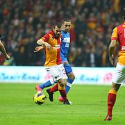 Galatasaray's Yekta Kurtulus (C) during their Turkish Super League soccer match Galatasaray between MP Antalyaspor at the TT Arena Stadium at Seyrantepe in Istanbul Turkey on Sunday 10 February 2013. Photo by TURKPIX