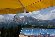 Cable car terrace panaorama above the Siusi plateau, above the South Tyrolean town of Ortisei-Sankt Ulrich in the Dolomites, Italy.