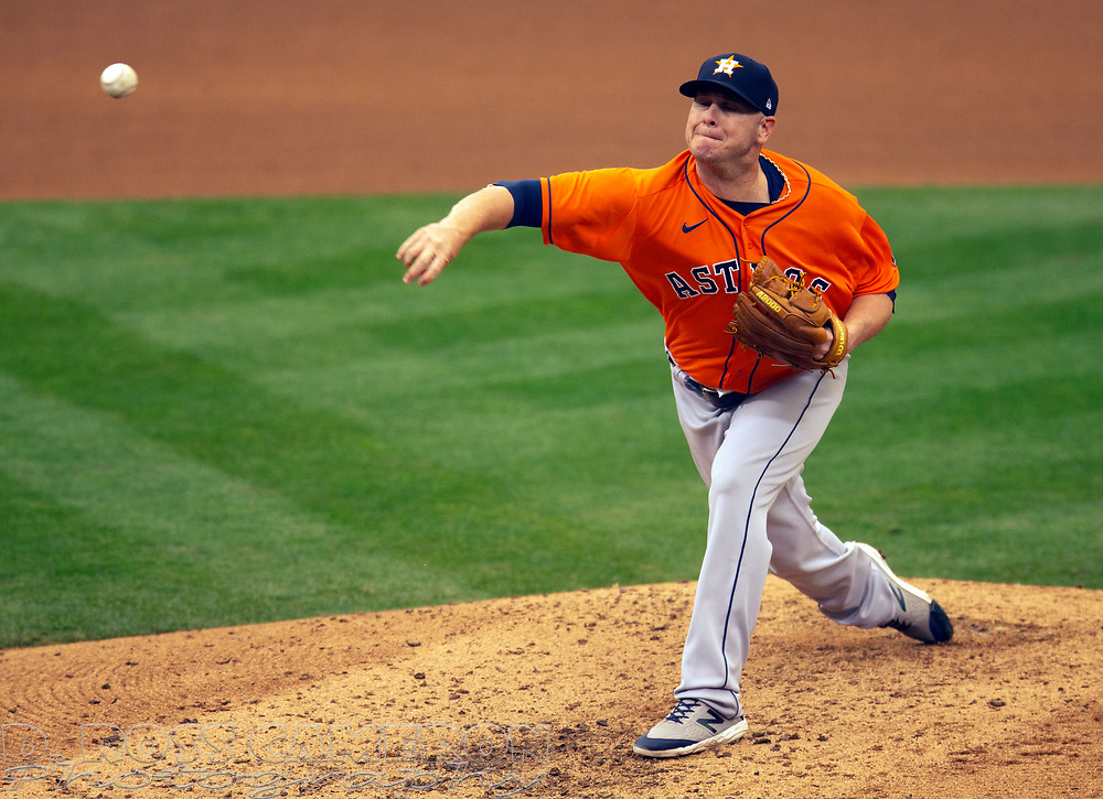 Sep 10, 2020; Oakland, California, USA; Houston Astros pitcher Brad Peacock (41) delivers a pitch against the Oakland Athletics during the seventh inning of a baseball game at Oakland Coliseum. Mandatory Credit: D. Ross Cameron-USA TODAY Sports
