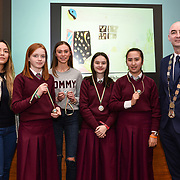 05/03/2019<br /> Pictured are award winners Caoimhe Ni Ghamhna, Molly Ni Chearbhaill, Caitlin Ni Riain, and Anna Ni Athairne from Laurel Hill Colaiste, along with Sara Montoya, co-op member of Fairtrade Colombia, and Cllr Daniel Butler, Mayor of the Metropolitan District of Limerick.<br /> <br /> Fairtrade worker Sara Montoya, from a Fairtrade Coffee Co-op in Colombia was the special guest in Limerick City and County Council chamber today at an event to coincide with Fairtrade Fortnight.<br />  <br /> Sara joined Fairtrade supporters from across Limerick and Ireland for the annual initiative, which features a programme of talks and community events aimed at promoting awareness of Fairtrade and Fairtrade-certified products.<br />  <br /> Speaking at the event in Dooradoyle, Sara outlined the success and benefits of the Fairtrade movement in Colombia and how important it is for people in the developed world think of Fairtrade products when shopping.<br />  <br /> This year's campaign 'Create Fairtrade' invites us all to use our imagination and create fairtrade in our lives.<br />  <br /> Young people from across Limerick city and county were also a focus of the event as they displayed their posters, which they created to help change the way people think about trade and the products on our shelves.<br /> Photo by Diarmuid Greene