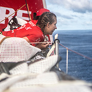 Leg 4, Melbourne to Hong Kong, day 11 on board MAPFRE, Sophie Ciszek and Tamara Echegoyen during one of the squalls. Photo by Ugo Fonolla/Volvo Ocean Race. 12 January, 2018.
