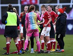 Gemma Evans of Bristol City Women and Sophie Baggaley of Bristol City Women after the final whistle of the match  - Mandatory by-line: Ryan Hiscott/JMP - 30/01/2021 - FOOTBALL - Twerton Park - Bath, England - Bristol City Women v Brighton and Hove Albion Women - FA Womens Super League 1