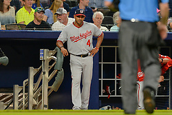 May 31, 2018 - Atlanta, GA, U.S. - ATLANTA, GA Ð MAY 31:  Washington manager Dave Martinez waits for the umpire to come over to the dugout during the game between Atlanta and Washington on May 31st, 2018 at SunTrust Park in Atlanta, GA.  The Atlanta Braves beat the Washington Nationals by a score of 4 - 2.  (Photo by Rich von Biberstein/Icon Sportswire) (Credit Image: © Rich Von Biberstein/Icon SMI via ZUMA Press)